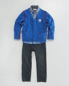 Skinny Jeans, Plaid Shirt & Button-Down Cardigan by Little Marc Jacobs at Neiman Marcus.