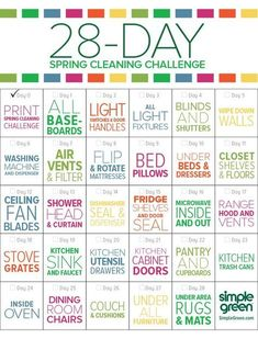 There's still time to get your spring cleaning done! Here's a 28 day checklist to get you started. This month, I'll be posting spring cleaning hacks, tips and tricks! What's your least favorite thing to clean? Diy Cleaning Products, Cleaning Solutions, Cleaning Hacks, Cleaning Recipes, Diy Hacks, Monthly Cleaning Schedule, Monthly Meal Planning, Family Meal Planning, Weekly Cleaning Charts