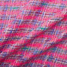 Bright Pink, Sky Blue & Cream Summer Bouclé Pink Sky, Bright Pink, Blue Cream, Plaid Scarf, Fabrics, Coat, Summer, Fashion, Tejidos