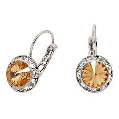 Genuine Austrian Crystal Leverback Drop Earrings (Topaz)