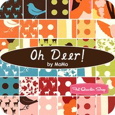 """""""Oh Deer!"""" Jelly Roll MoMo for Moda Fabrics - $39 for forty 2.5"""" strips of fabric rolled up and tied in a cute ribbon.  Jelly Roll includes duplicates of some prints."""