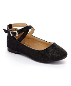 Look at this Black Sparkle Ankle-Strap Flat on #zulily today!