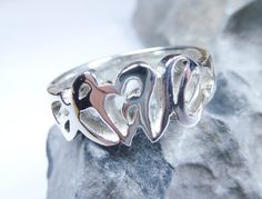 Love ring sterling silver heart ring personalized by JubileJewel, $80.00