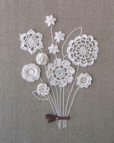 lindo ramo de flores de croche - para aplicar em bolsa ou almofada