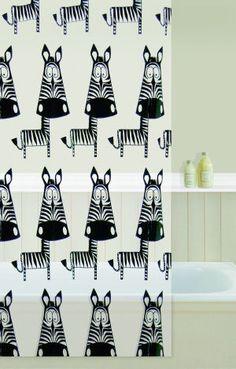 zebra shower curtain in curtain