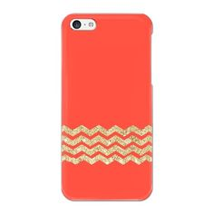 iPhone 5C Glitter Gold Chevron In Red Background Case