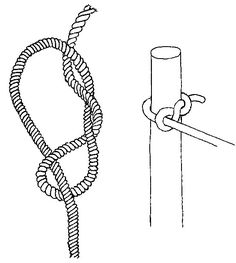 Timber hitch used to tie boats
