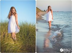 Gorgeous senior portraits on the beach as the sun sets over Lake Michigan! Images by Jennifer - Holland MI Senior Photographer - Beautiful Senior Pictures