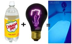 Make glow-in-the-dark bathwater with tonic water and a black light bulb! Totally safe, non-toxic, non-messy.