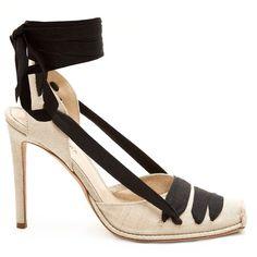 Altuzarra Wraparound-ankle linen pumps ($643) via Polyvore featuring shoes, pumps, ankle tie espadrilles, sling back pumps, ankle strap pumps, high heel stilettos and black ankle strap stilettos
