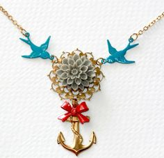 Anchor necklace Nautical pendant Anchor by SailorsGraveJewelry, $40.00