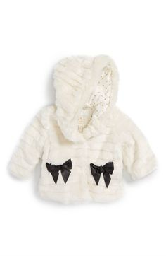 kate spade new york kids faux fur hooded jacket (Baby Girls) available at #Nordstrom
