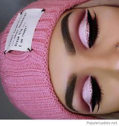 Amazing pink glitter winter eye makeup