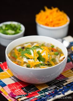 Crockpot Chicken Enchilada Soup Favorite Soups To Eat Today!) - Warm, bold, and flavorful enchilada soup made in the crockpot. All the flavors you love about chicken enchiladas in soup form! Crock Pot Soup, Crock Pot Slow Cooker, Crock Pot Cooking, Slow Cooker Recipes, Soup Recipes, Cooking Recipes, Healthy Recipes, Crockpot Meals, Free Recipes
