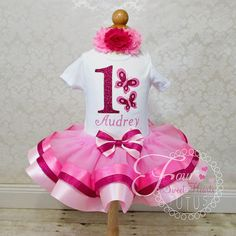 Butterfly First Birthday Outfit Girls by FourSweetHeartsTutus