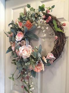 Year Round wreath, Peach Wreath, Pink Wreath, Cottage Chic Decor,Spring Wreath, Feminine Wreath,  Wreath with Roses, Wedding Decor, Gifts