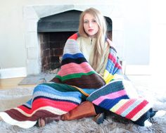 Vintage Crochet AFGHAN BLANKET Multicolor stripes stitch Hand Knit 70s Indie Festivals BOHEMIAN Bed Wrap Shawl 74 X 99 Bedding & Throw Decor by HarlowGirls on Etsy