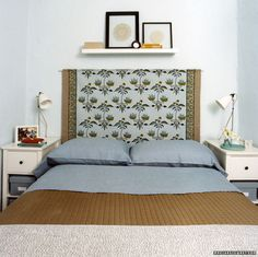 Idea for DIY headboard. Possibly just hang curtains behind bed, but I like how low this is with the shelf on top.