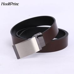 HooltPrinc 2018 Fashion Designer Genuine Leather Luxury Reversible Belts High Quality Belt Men Smooth Plate Buckle Belts For Men Reversible Belt, Belt Buckles, Belts, Smooth, Plates, Free Shipping, Luxury, Leather, Stuff To Buy