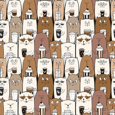 'funny seamless pattern with doodle cute cats' by Chris olivier Framed Prints, Canvas Prints, Art Prints, Decorative Throw Pillows, Cute Cats, Doodles, Painting, Funny, Pattern