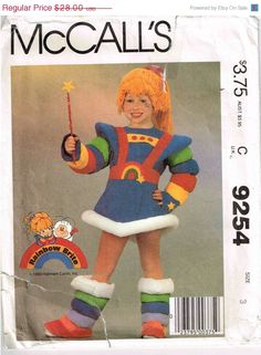 ON Sale 80s Rainbow Brite Costume Girls by PeoplePackages on Etsy