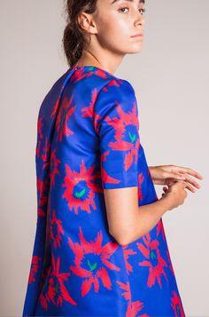 EDIT The Brand SS16 Collection - Maxi Hi/Lo Cobalt Flower Print Satin Dress