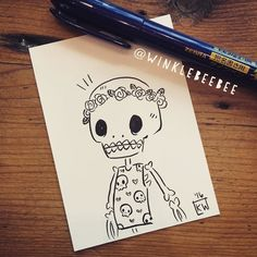 "regram @winklebeebee ""Hold on I want to try to draw something without using pencil first."" My greatest masterpiece #art #artstagram #drawing #illustration #doodle #ink #freehand #skeleton #spooky #skulls #flowercrown #design #abeautifulmessapp"