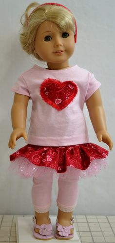 American Girl Doll Clothes  Fringe Heart by ThreadsAndSplinters with Liberty Jane Harajuku Skirt pattern.  Original pattern available at http://www.pixiefaire.com/products/harajuku-skirt-18-doll-clothes