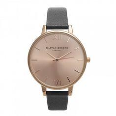 Olivia Burton Big Dial Black and Rose Gold Watch