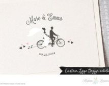 Premade Wedding Monogram Logo Save the Date Wedding Logo Design Custom Monogram Design Custom Wedding Logo Design Couple on Bike Logo Design