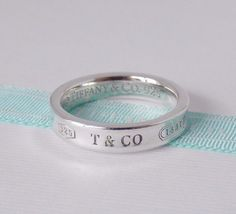 8c329233b Tiffany & Co Size 5.5 Sterling Silver 1837 Narrow Concave Ring Band with  Pouch | eBay