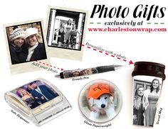 Need an idea for a unique gift for that hard to buy for person? We have just the answer with our personalized photo gifts! Customize our durable insulated travel mug, sticky note dispenser, glass paperweight or trendy pen with any of your favorite photos. Simply visit www.charlestonwrap.com, upload your photo and create a unique gift that will truly be cherished!