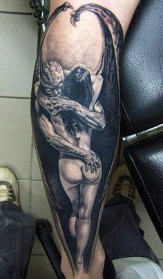 This demon was raised from hell by the talented Andy Engel. #InkedMagazine #Horror #demon #tattoo #tattoos #inked #ink