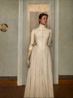 Retrato de Marguerite Khnopff, 1887- Fernand Khnopff, Bruxelas, Fundação Rei Balduíno. Seu relacionamento com Marguerite foi um fator decisivo na vida de Fernand. Ela logo se tornou uma de suas modelos preferidas, como foram as irmãs Maquet, jovem mulheres inglesas com quem Khnopff permaneceu amigo por muitos anos. As características de Marguerite se tornariam parte do ideal feminino que Khnopff estava para criar, no início dos anos 1880, a partir de uma mistura de figuras pré-rafaelitas e