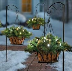 Gold Silver Ornament Decorated Pre Lit Christmas Hanging Basket w/Stand Outdoor