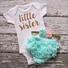 NEW Baby Girl Take Home Outfit Newborn Little Sister Bodysuit Mint Bloomers Gold Pink Headband Lola Bean Clothing Going Home Outfit So Cute Baby, Cute Baby Clothes, Baby Love, Cute Babies, Baby Clothes For Girls, Baby Girl Clothing, Babies Stuff, Kids Clothing, Baby Sister
