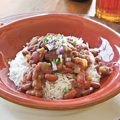 Slow Cooker Red Beans and Rice   ~  Red beans and rice doesn't get any easier than this slow-cooker version. Just chop everything in advance, and the slow cooker will do the rest of the work.