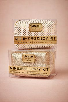 Be prepared for even the smallest of emergencies with this gold Emergency Kit from BHLDN. Check out the full article: http://www.colincowieweddings.com/articles/ideas-how-tos/how-to-ask-your-bridesmaids/all