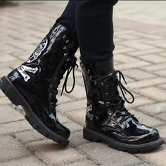 Black Patent Leather Sequin Bullet Studded Punk Rock Fashion Boots Men SKU-1280454