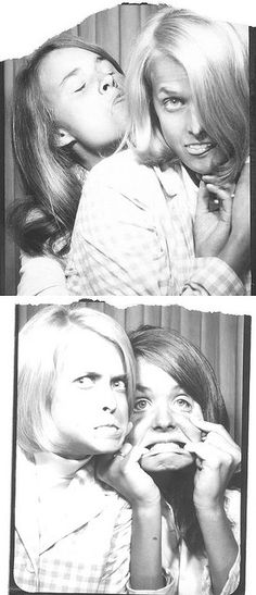 Ruthie and Kate. #vintage #photobooth #1960s. Today this would be Kristen Wiig and Sandra Bullock. Lol