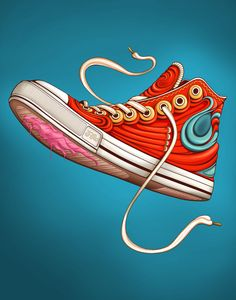 I love the grooves in the side of this shoe illustration. It gives it a very cartoony, new texture to the shoe. The gum also has a very cartoony, bright look to it as it melts off the sole  of the shoe.