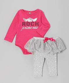 Take a look at this Pink & Gray 'Rock Princess' Bodysuit & Skirted Leggings - Infant on zulily today!