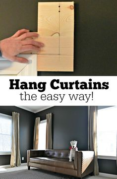 Hang curtains the easy way with this DIY template!  Easy to customize! DIY, Do It Yourself, #DIY