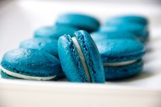 Blueberry French Macarons with white chocolate coconut Ganache. Most likely the desert I'll be making for my baby shower if I have a boy.