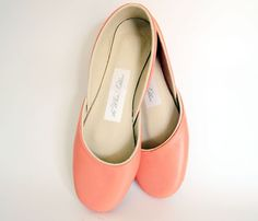 Softest Leather Ballet Flats in Coral