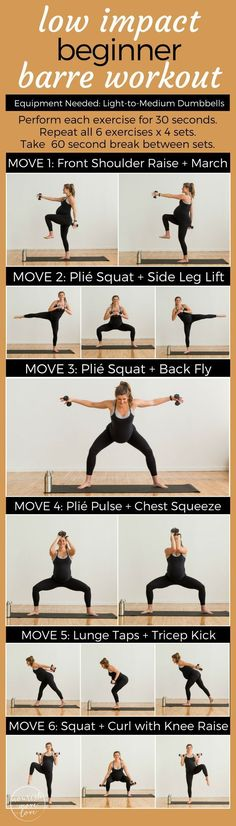 Low Impact Beginner Barre Workout. Cardio + strength workout with low impact moves for everyone - bad knees, pregnant, post partum, or just need a low impact workout to sculpt and tone at home | www.nourishmovelove.com