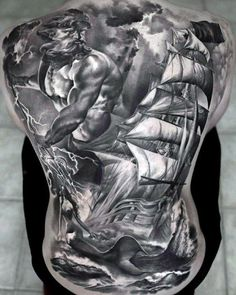 Poseidon Greek Mythology Tattoo On Back Of Man