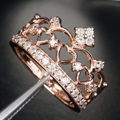 Prettiest ring I've ever seen! Unique 14K Rose Gold Heart Crown Engagement Ring   by TheLOGR, $740.00