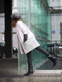 pink & grey coat