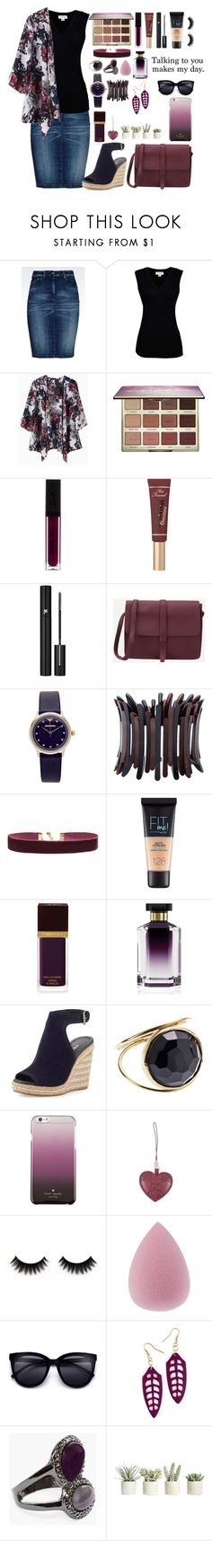 """""""Talking To You Makes My Day"""" by missbeth1897 ❤ liked on Polyvore featuring Armani Jeans, Velvet by Graham & Spencer, tarte, Too Faced Cosmetics, Lancôme, Emporio Armani, Alexa Starr, Vanessa Mooney, Maybelline and Tom Ford"""